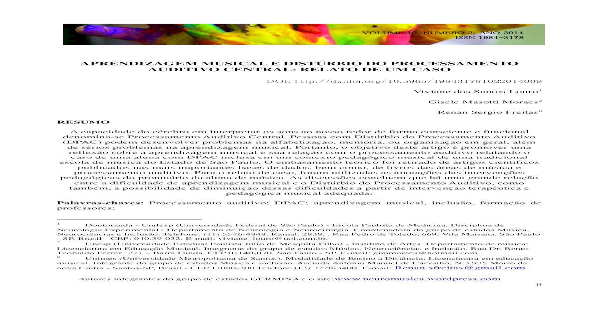 aprendizagem musical e distúrbio do processamento auditivo - [PDF Document]